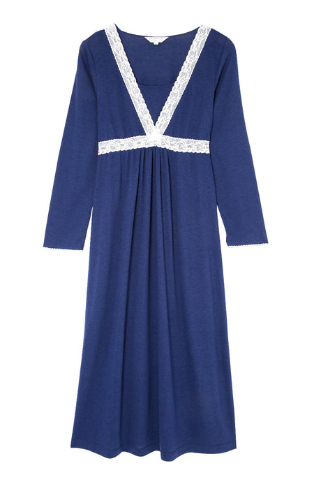 Maternity & Nursing Long Sleeve Jersey Nightdress (mlnl) Midnight