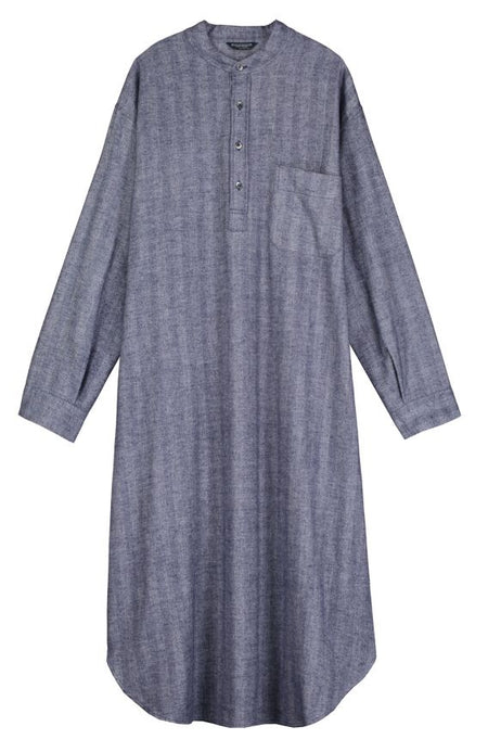 Brushed Cotton Grandad Nightshirt (jmnl) - Navy | Bonsoir of London
