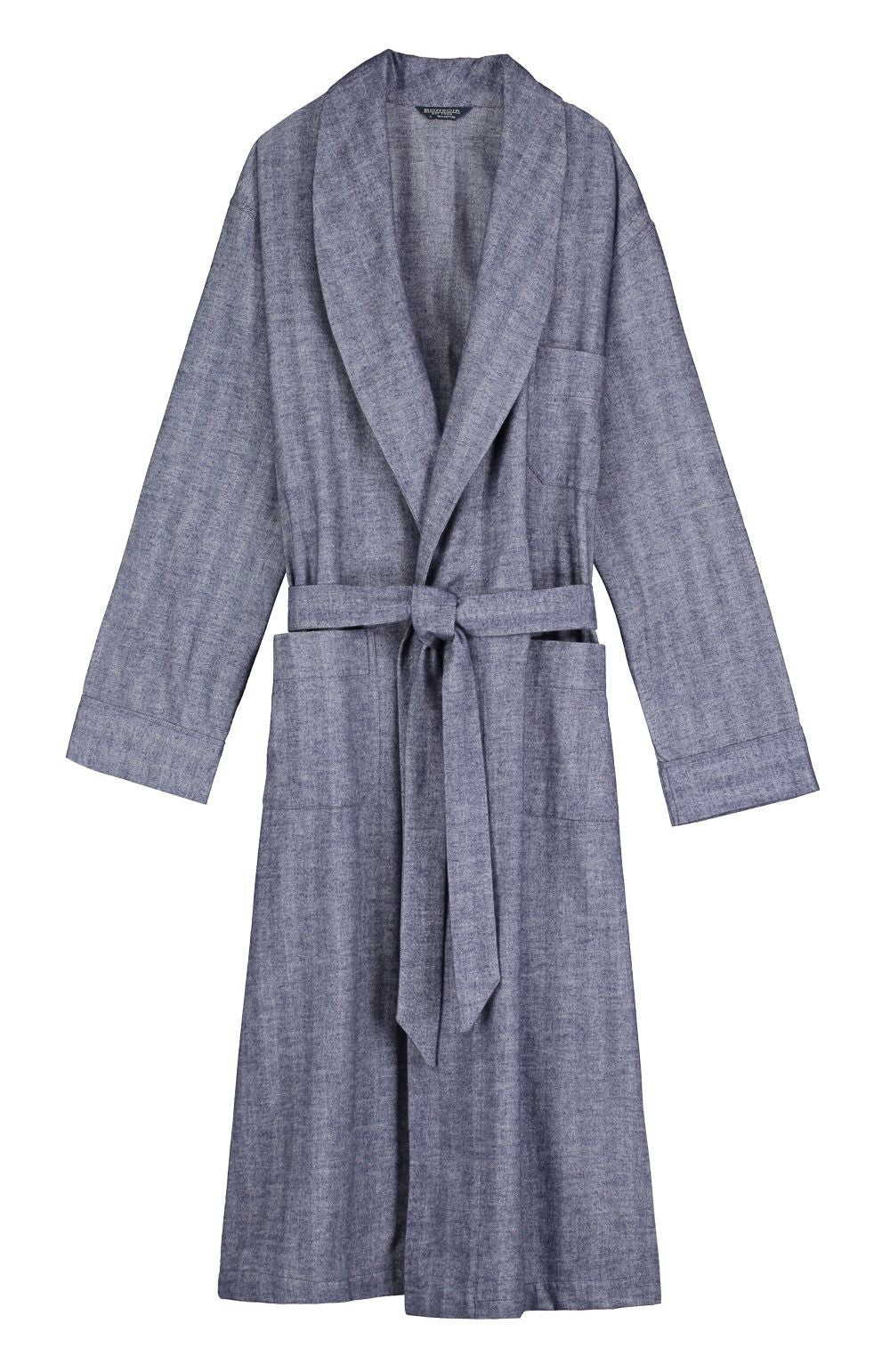 BRUSHED COTTON GOWN - NAVY | Bonsoir of London