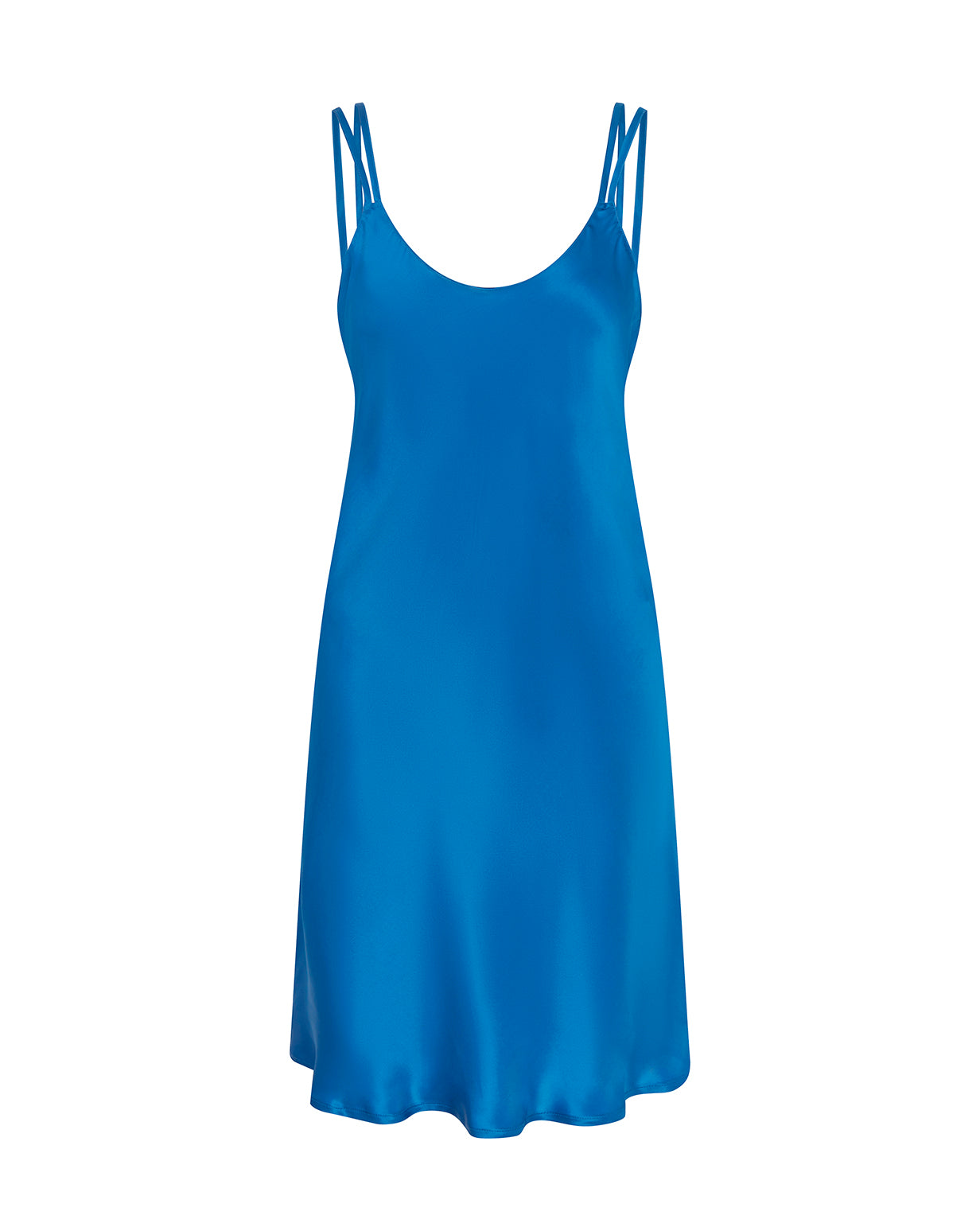 Women's Short Silk Nightdress – Peacock Blue