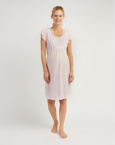 Maternity & Nursing Short Sleeve Jersey Nightdress - Soft Pink