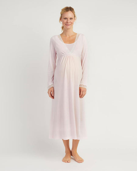 Maternity & Nursing Long Sleeve Jersey Nightdress - Soft Pink