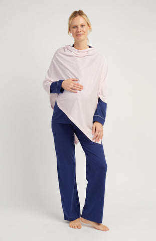 Maternity Long Sleeve Cotton Nightshirt (Mcsl) - Blue Clouds