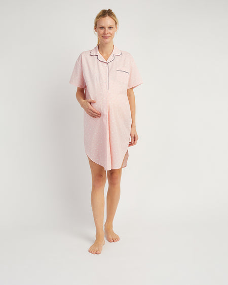 Maternity Short Sleeve Nightshirt - Pink Clouds