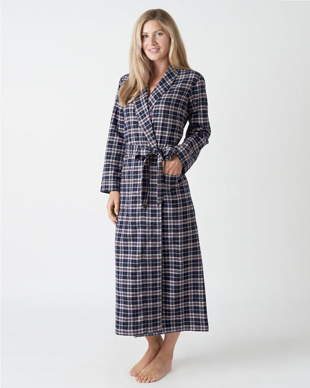 Women's Brushed Cotton Pink Bloom Dressing Gown | Bonsoir of London