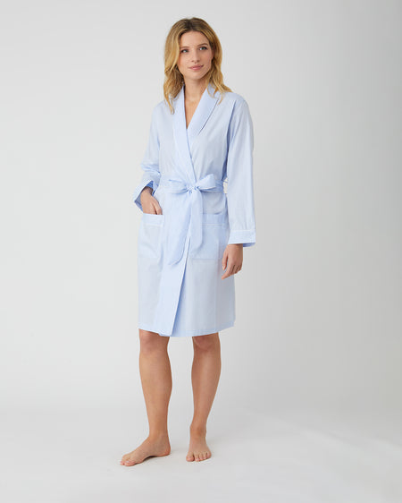 Women's Blue Jacquard Short Dressing Gown | Bonsoir of London