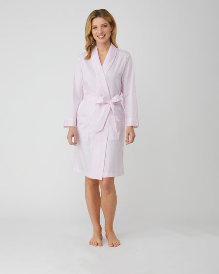 Women's Pink Jacquard Short Dressing Gown | Bonsoir of London