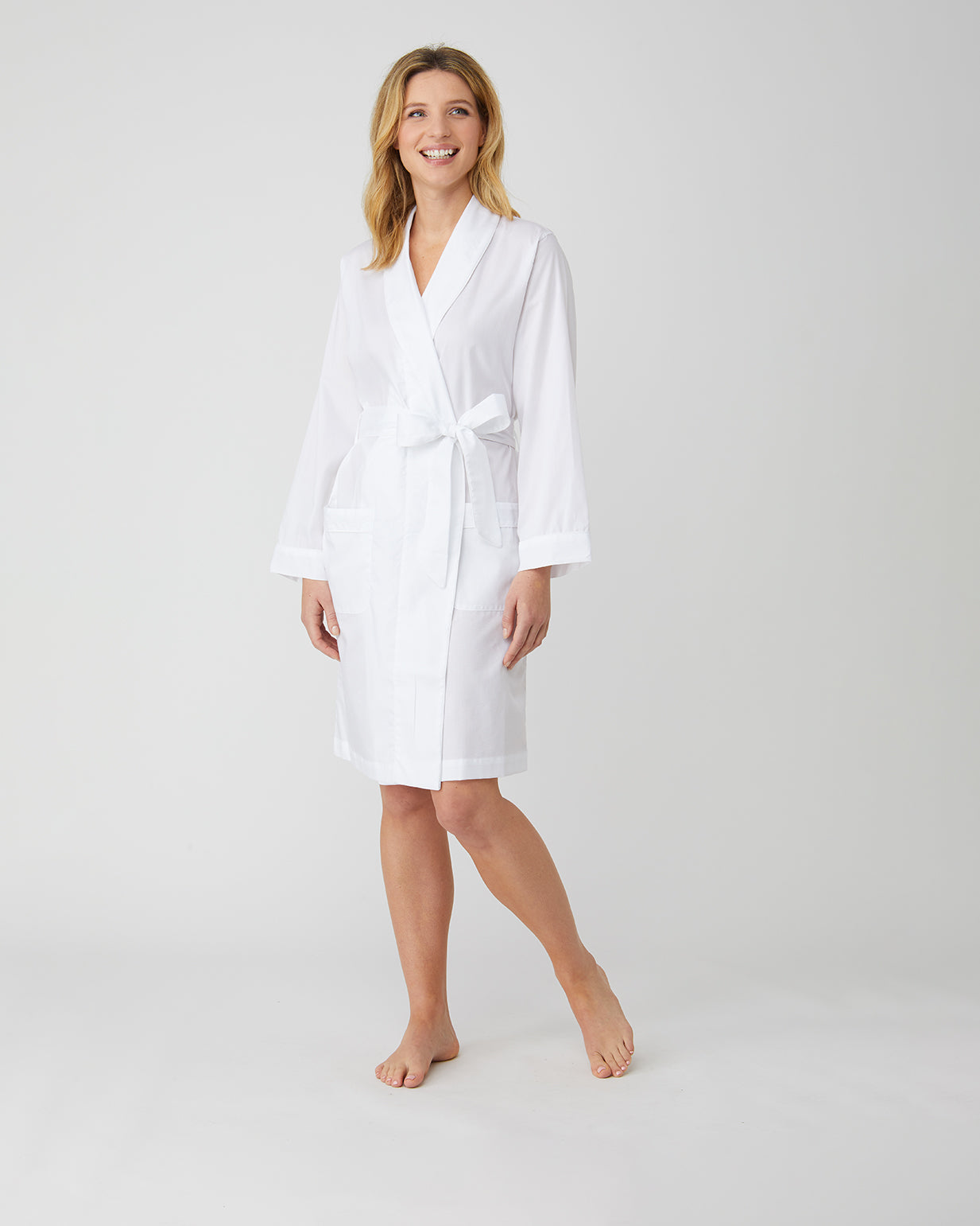 Women's White Jacquard Short Dressing Gown | Bonsoir of London