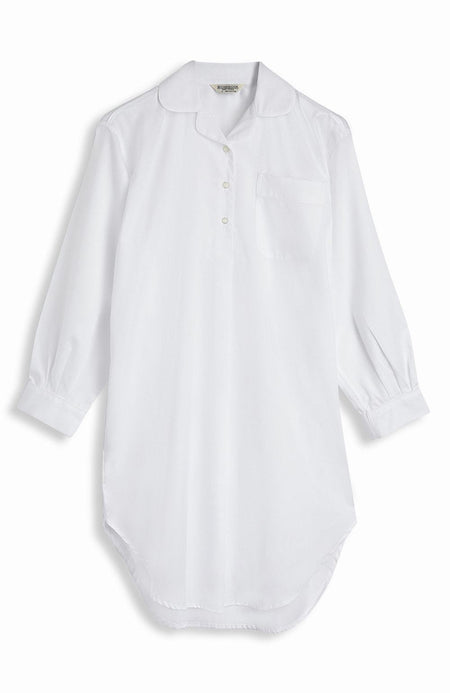 Jacquard Short Length Nightshirt (qlns) - White