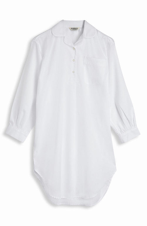 JACQUARD SHORT LENGTH NIGHTSHIRT - WHITE