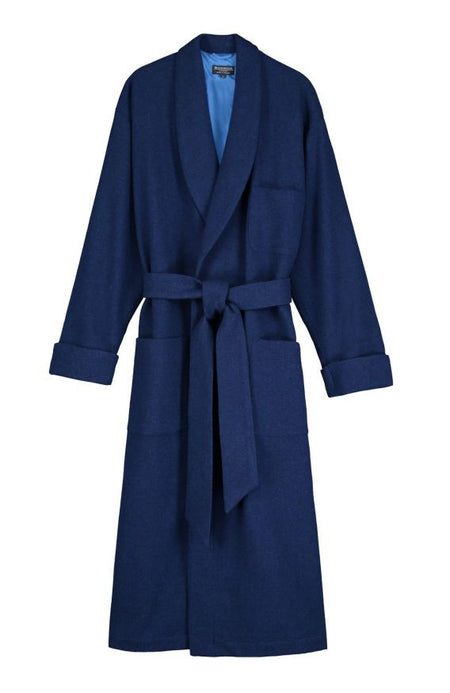 Men's Luxury Royal Silk-Lined Wool Dressing Gown | Bonsoir of London