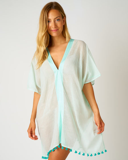 Women's Short Beach Cover Up - Aqua | Bonsoir of London