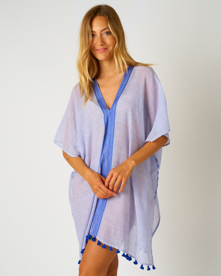 Women's Short Beach Cover Up - Blue | Bosnoir of London