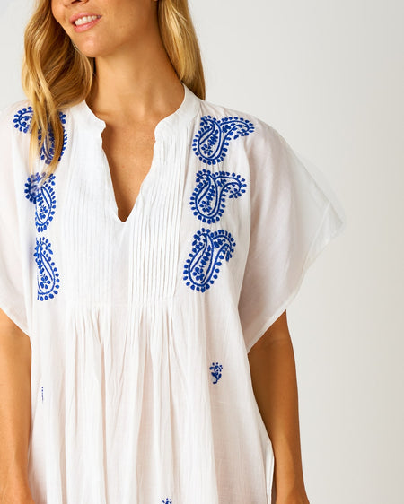 Women's Long Beach Cover Up - Electric Blue | Bonsoir of London