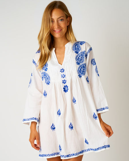 Women's Long Sleeve Short Kaftan - Electric Blue | Bonsoir of London