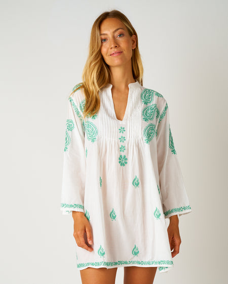 Women's Long Sleeve Short Kaftan - Green | Bonsoir of London
