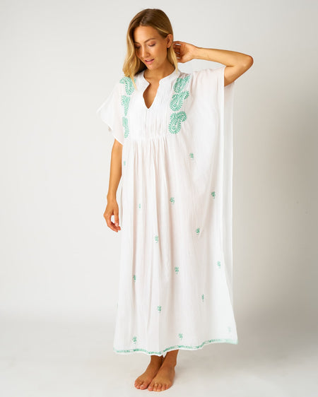 Women's Long Beach Cover Up - Green | Bonsoir of London