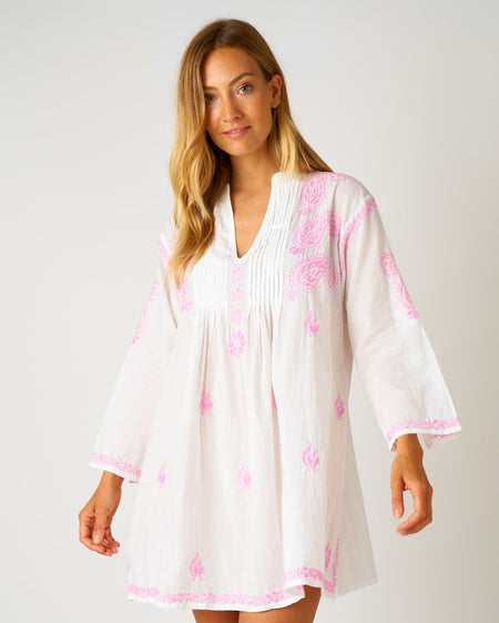 Women's Long Sleeve Short Kaftan - Pink | Bonsoir of London