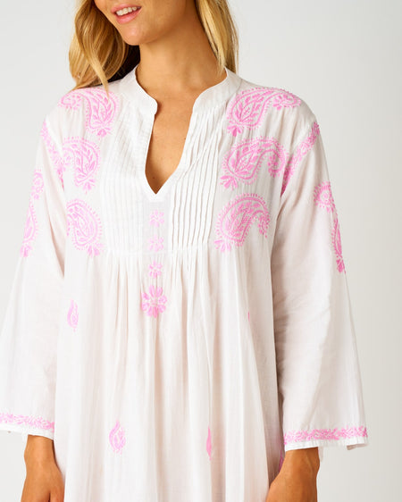 Women's Long Sleeve Midi Kaftan - Pink