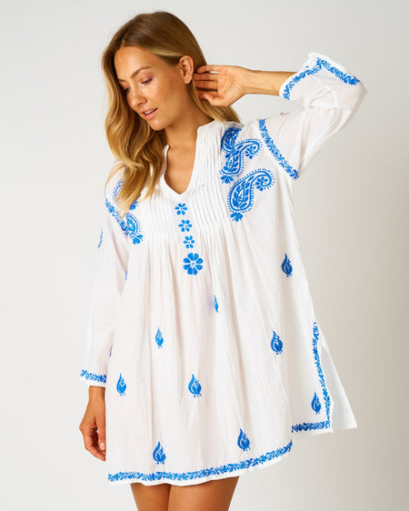 Women's Long Sleeve Short Kaftan - Sky | Bonsoir of London
