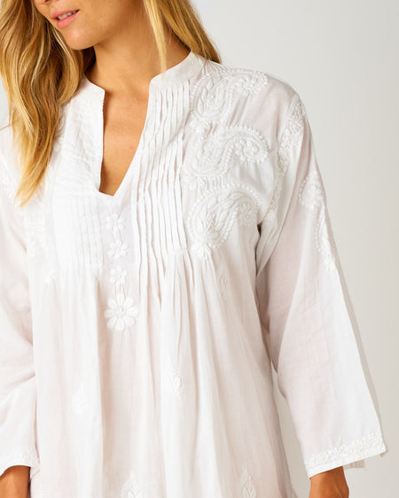 Women's Long Sleeve Short Kaftan - White | Bonsoir of London