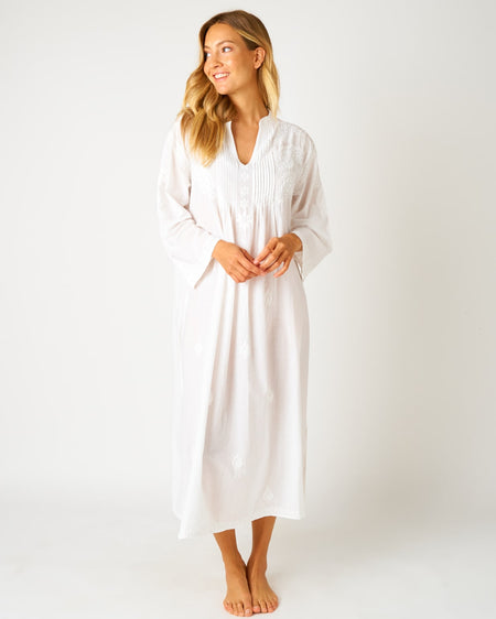 Women's Long Sleeve Midi Kaftan - White | Bonsoir of London