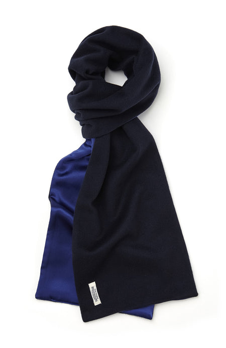 Cashmere & Silk Scarf (scfb) - Navy | Bonsoir of London