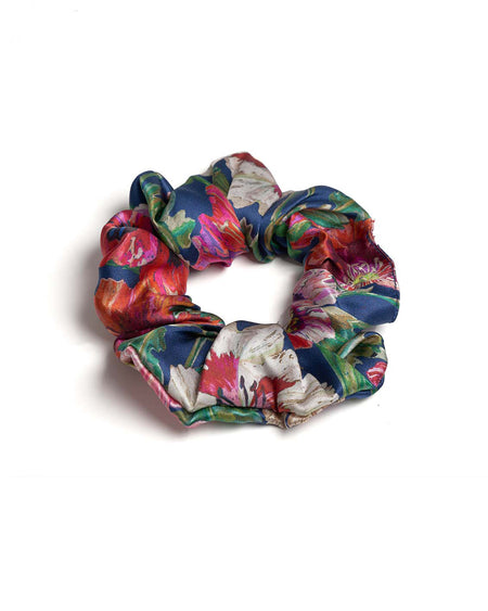 Silk Scrunchy in Flowers | Bonsoir of London