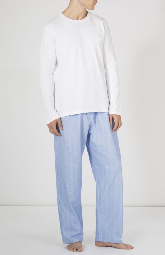 BRUSHED COTTON PYJAMA TROUSERS - SKY HERRINGBONE | Bonsoir of London