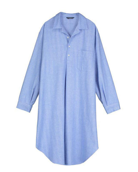 Brushed Cotton Nightshirt (jmnm)- Sky | Bonsoir of London