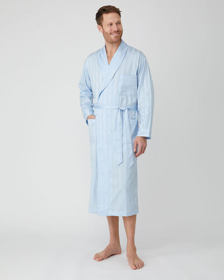 Men's Satin Stripe Cotton Dressing Gown - Sky