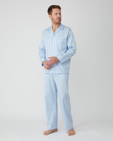 Men's Satin Stripe Cotton Pyjamas - Sky
