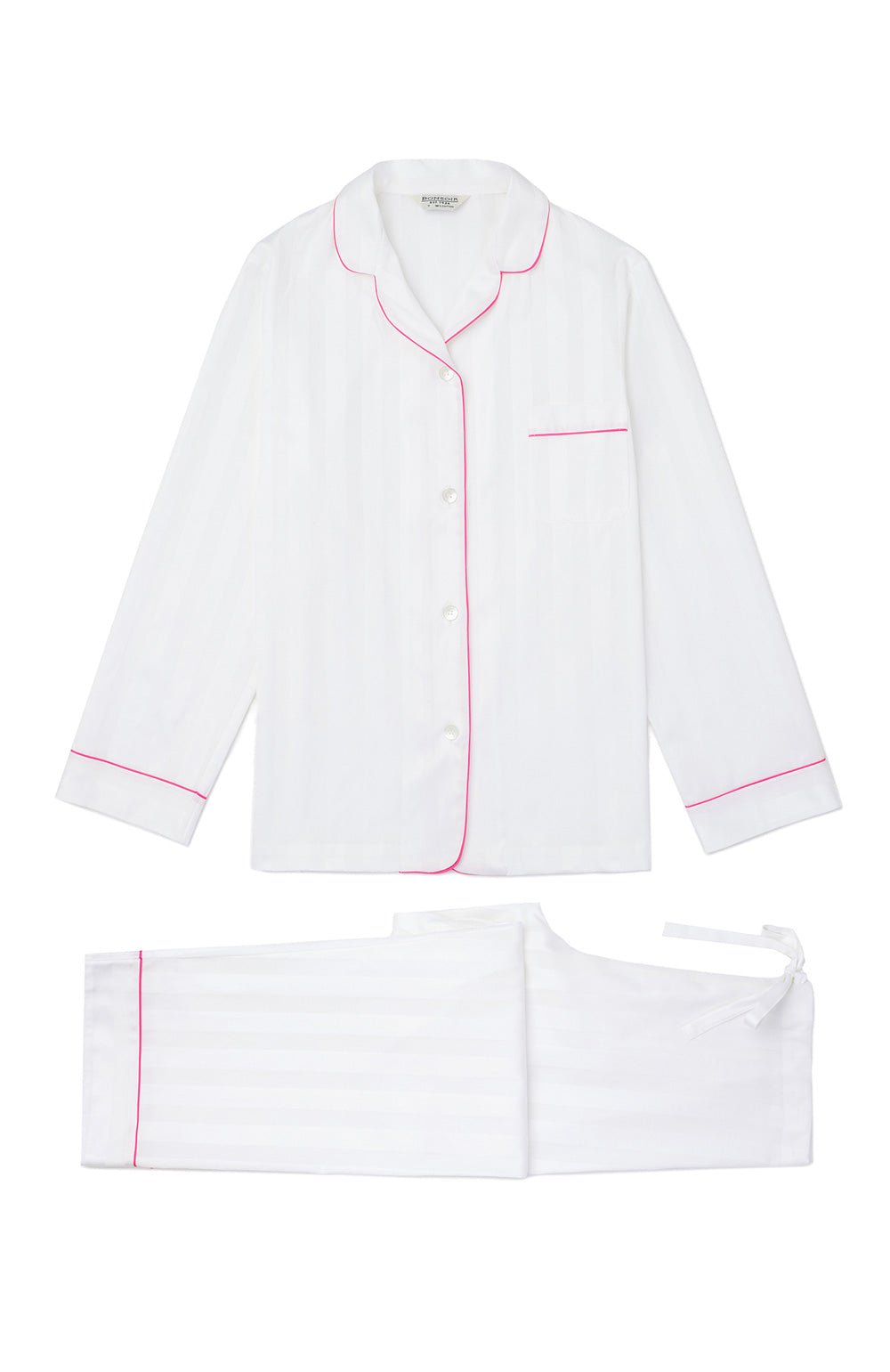 Long Sleeve White Satin Pyjamas