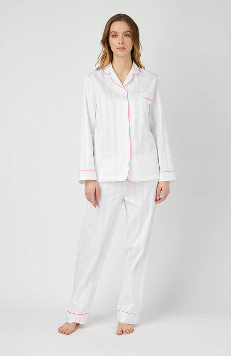 Long Sleeve White Satin Pyjamas - Full