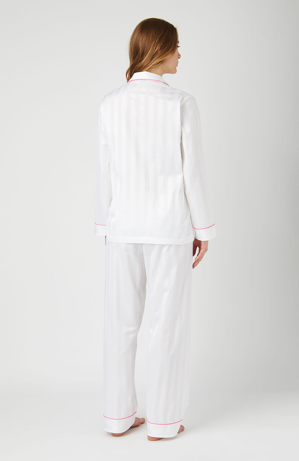 Long Sleeve White Satin Pyjamas - Back
