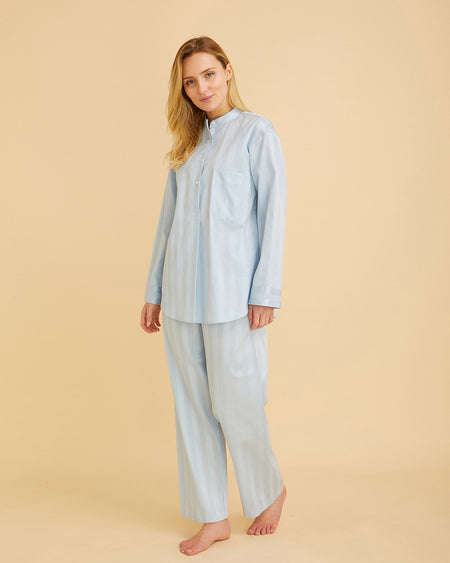 Women's Satin Stripe Pyjamas Sky Blue | Bonsoir of London