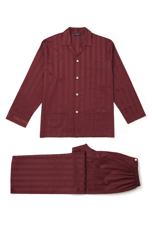 Satin Stripe Pyjamas (smpe) - Bordeaux