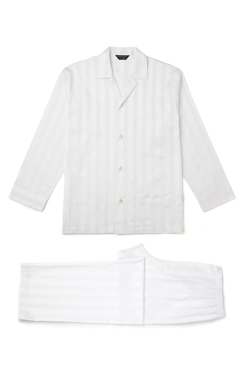Satin Stripe Pyjamas (smpe) - White