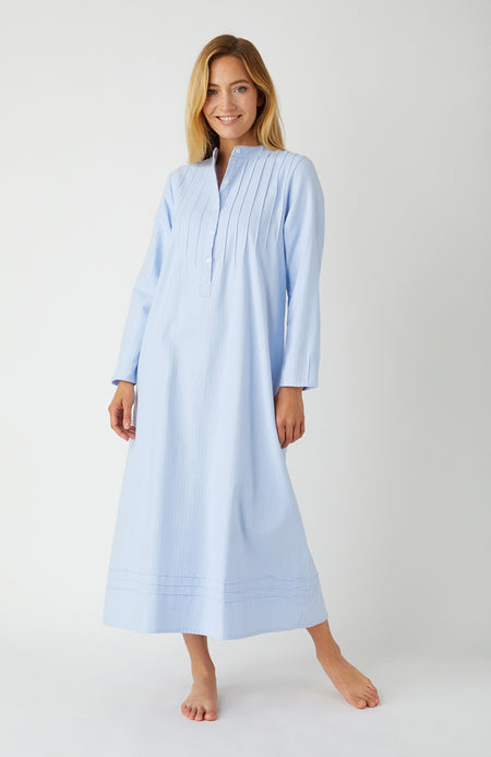 Women's Sophie Blue Herringbone Nightdress | Bonsoir of London