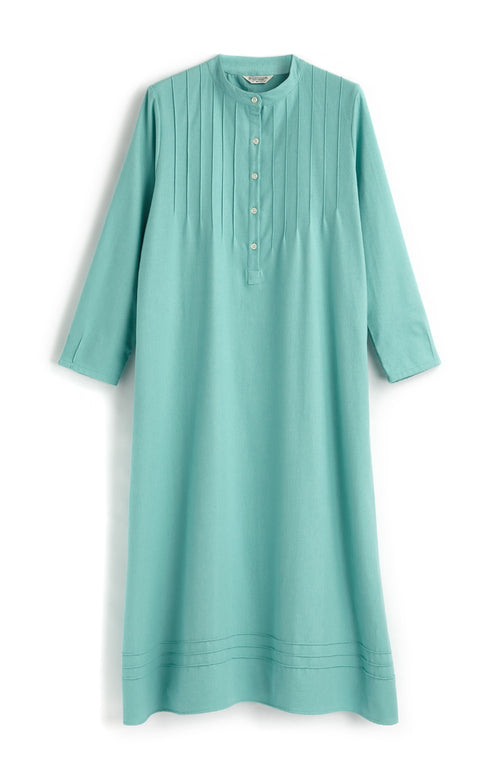 SOPHIE NIGHTDRESS - AQUA HERRINGBONE