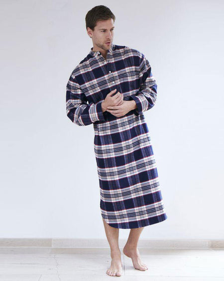 BRUSHED COTTON GRANDAD NIGHTSHIRT - STEWART | Bonsoir of London