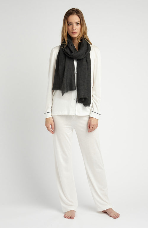 CASHMERE SCARF - CHARCOAL | Bonsoir of London