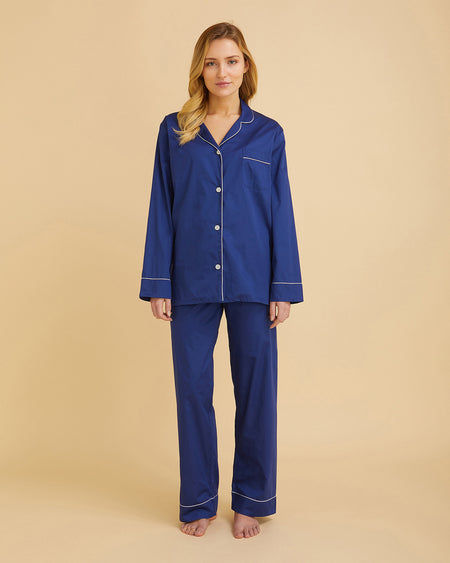 Women's Classic Cotton Navy Sateen Pyjamas | Bonsoir of London