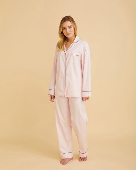 Women's Classic Cotton Pink Sateen Pyjamas | Bonsoir of London