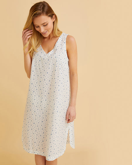 Women's Cotton Shift Nightdress Blue Floral | Bonsoir of London