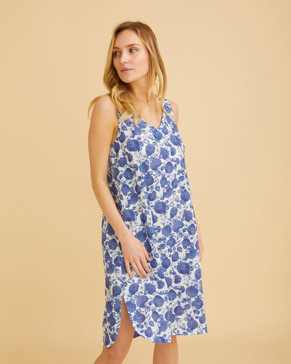 Women's Annabel Cotton Nightdress – Yves Blue Floral