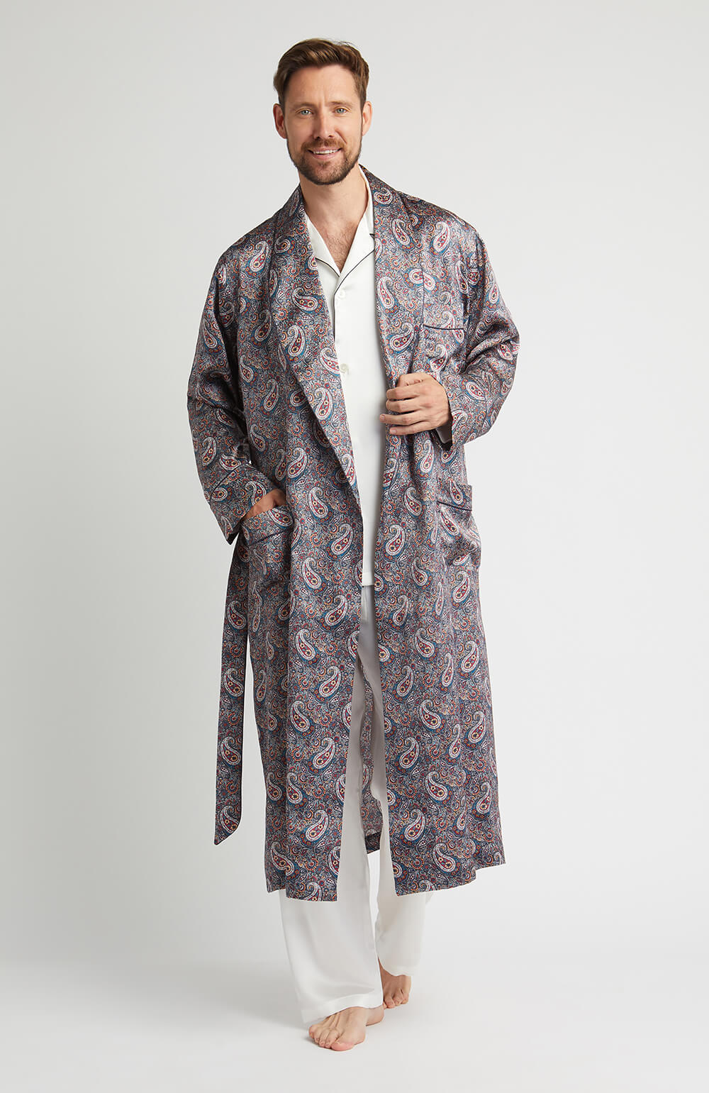 Silk Robe (kmdg) - Red Paisley