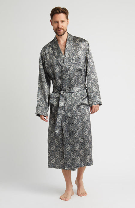 Luxury Grey Paisley Silk Robe | Bonsoir of London