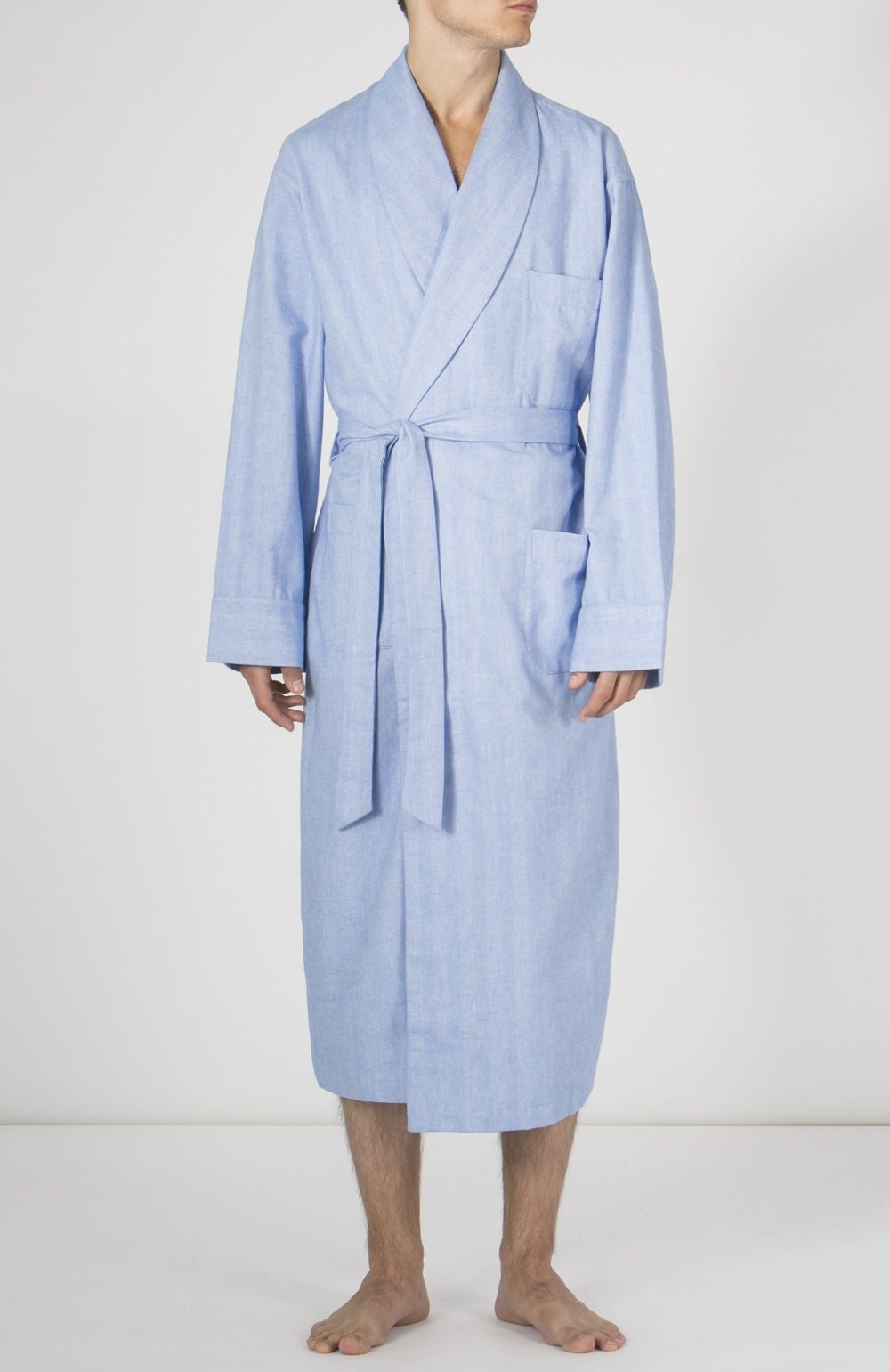 Brushed Cotton Gown (jmdg) - Sky | Bonsoir of London