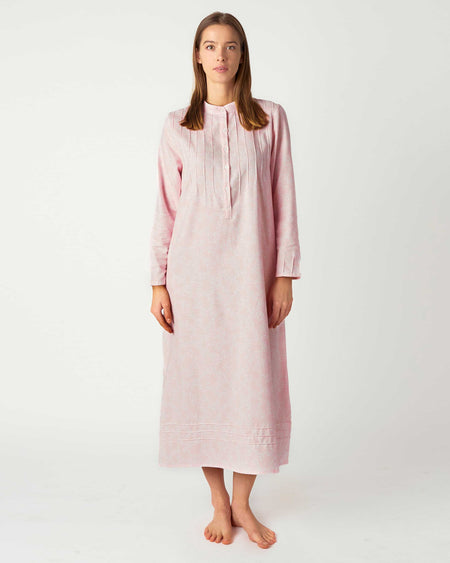 Women's Brushed Cotton Sophie Nightdress - Pink Bloom